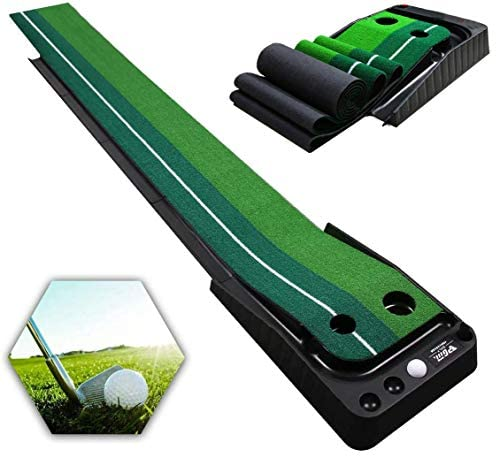 Qdreclod Golf Putting Green with Ball Return Golf Practice Putting Mat 9.8 ft X 11.8 Inch Portable Golf Practice Aid Equipment for Home Office Indoor Outdoor