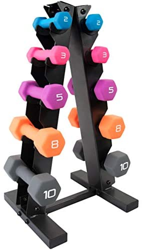 WF Athletic Supply Dumbbell Set with Storage Rack