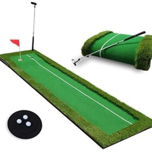 Golf Putting Green System, Professional Practice Golf Green Long Challenging Putter Training Hit Mat With 1 Metal Golf Clubs And 3 Ball, Indoor/Outdoor Golf Training Aid Equipment (Green)